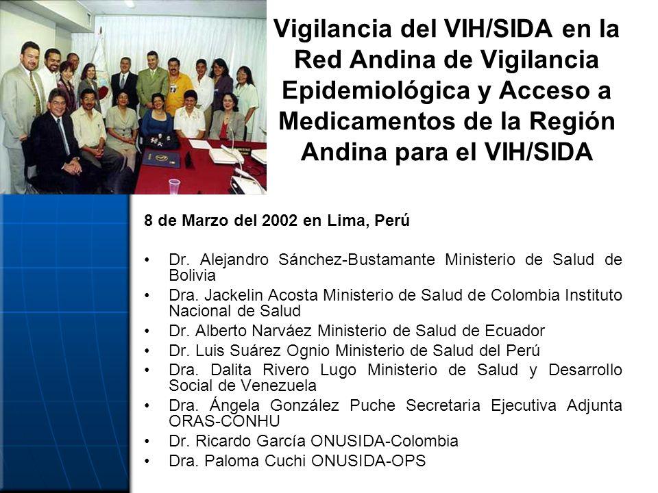 Vigilancia del VIH/SIDA en la Red Andina de Vigilancia Epidemiológica y Acceso a Medicamentos de la Región Andina para el VIH/SIDA 8 de Marzo del 2002