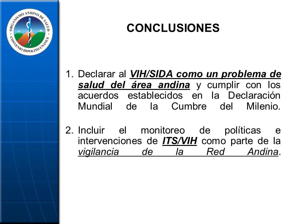 CONCLUSIONES 1.Declarar al VIH/SIDA como un problema de salud del área andina y cumplir con los acuerdos establecidos en la Declaración Mundial de la