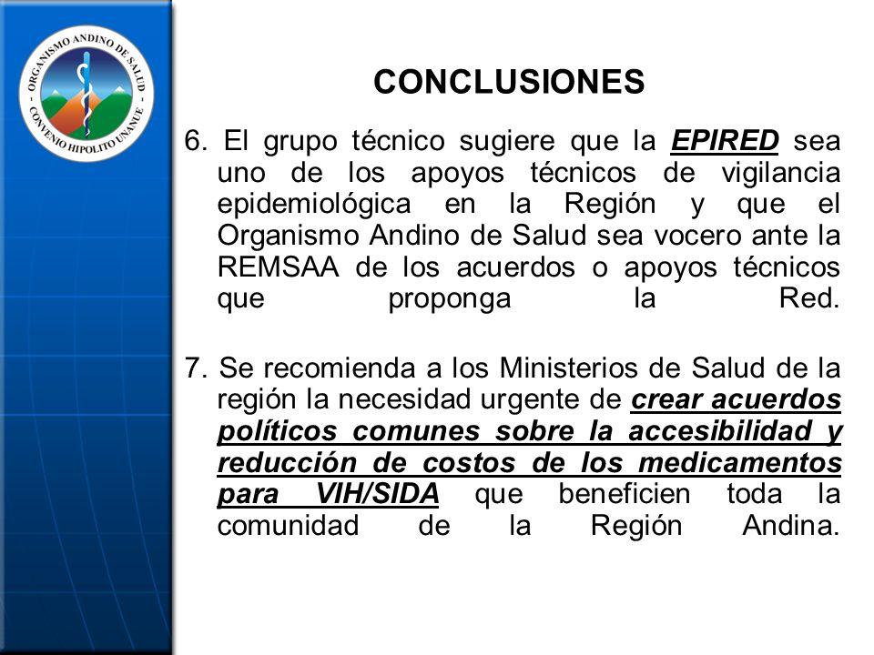 CONCLUSIONES 6. El grupo técnico sugiere que la EPIRED sea uno de los apoyos técnicos de vigilancia epidemiológica en la Región y que el Organismo And