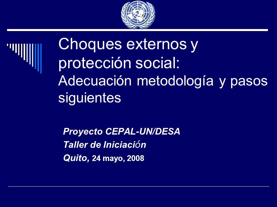 Choques externos y protección social: Adecuación metodología y pasos siguientes Proyecto CEPAL-UN/DESA Taller de Iniciaci ó n Quito, 24 mayo, 2008