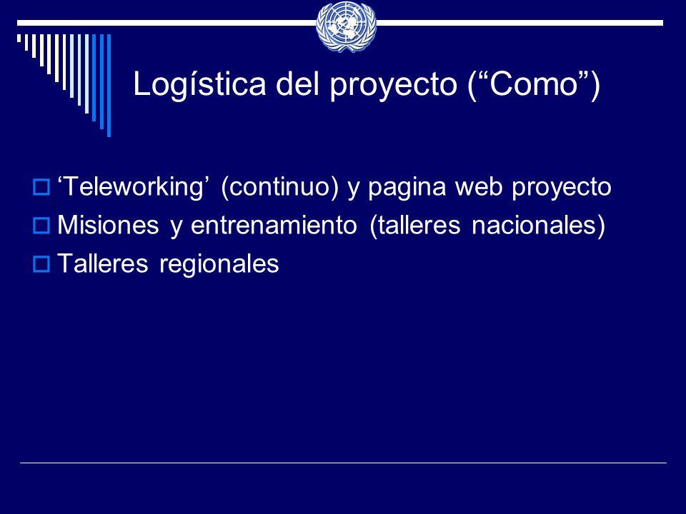 Logística del proyecto (Como) Teleworking (continuo) y pagina web proyecto Misiones y entrenamiento (talleres nacionales) Talleres regionales