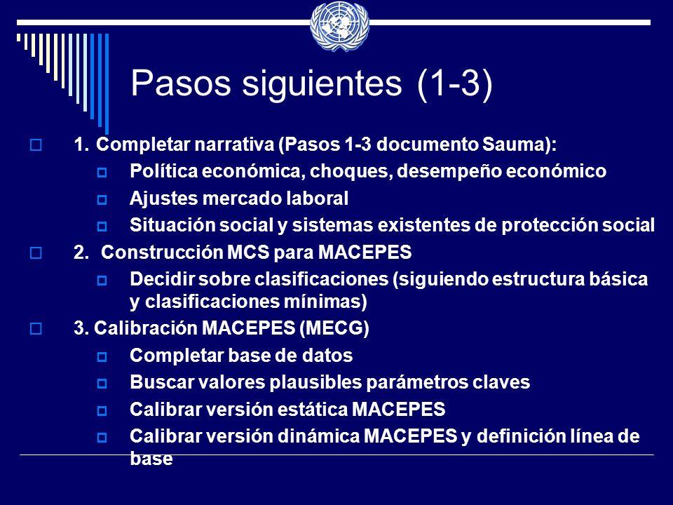 Pasos siguientes (1-3) 1.Completar narrativa (Pasos 1-3 documento Sauma): Política económica, choques, desempeño económico Ajustes mercado laboral Situación social y sistemas existentes de protección social 2.