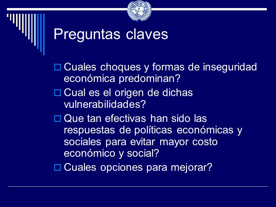 Preguntas claves Cuales choques y formas de inseguridad económica predominan.
