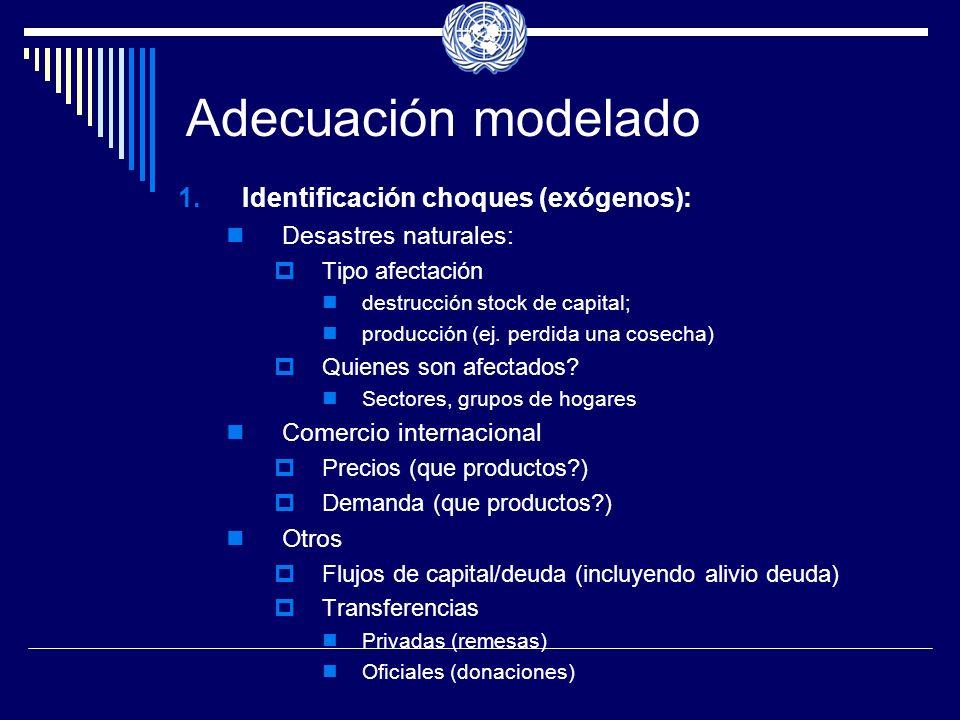 Adecuación modelado 1.Identificación choques (exógenos): Desastres naturales: Tipo afectación destrucción stock de capital; producción (ej.