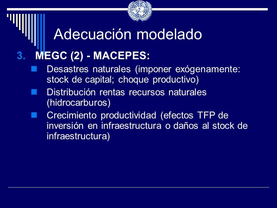 Adecuación modelado 3.MEGC (2) - MACEPES: Desastres naturales (imponer exógenamente: stock de capital; choque productivo) Distribución rentas recursos naturales (hidrocarburos) Crecimiento productividad (efectos TFP de inversión en infraestructura o daños al stock de infraestructura)