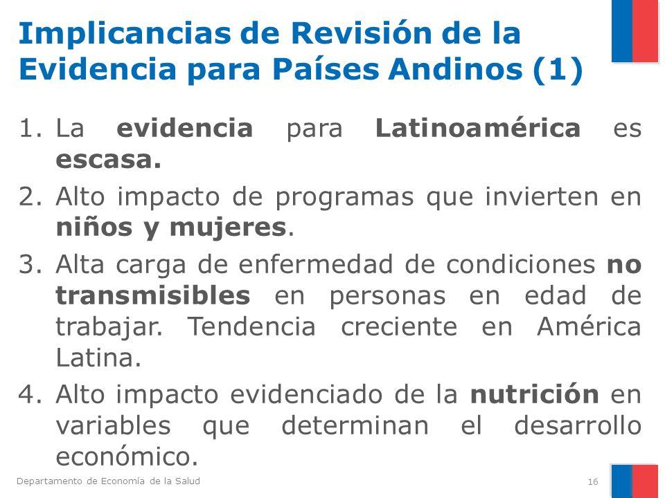 Departamento de Economía de la Salud Implicancias de Revisión de la Evidencia para Países Andinos (1) 1.La evidencia para Latinoamérica es escasa. 2.A