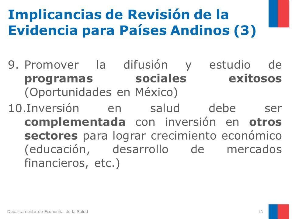 Departamento de Economía de la Salud Implicancias de Revisión de la Evidencia para Países Andinos (3) 9.Promover la difusión y estudio de programas so