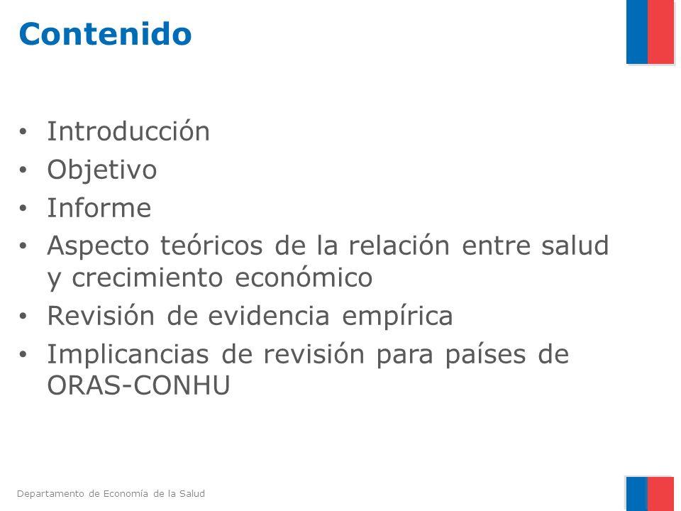 Departamento de Economía de la Salud Introducción El informe de la Comisión Macroeconomía y Salud de la OMS (2001) proporcionó datos concluyentes acerca de los vínculos existentes entre salud y desarrollo económico.