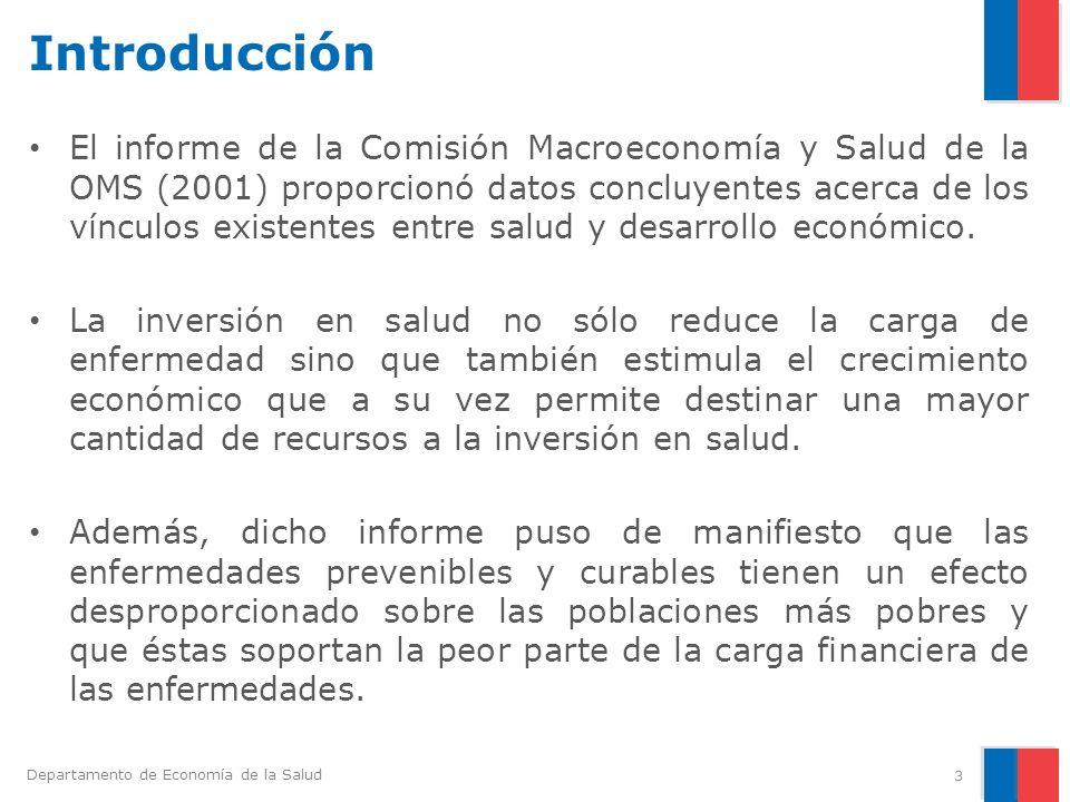 Departamento de Economía de la Salud Introducción El informe de la Comisión Macroeconomía y Salud de la OMS (2001) proporcionó datos concluyentes acer