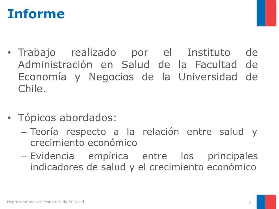 Departamento de Economía de la Salud Implicancias de Revisión de la Evidencia para Países Andinos (2) 5.Mejoras en la salud de la mujer impactan positivamente en su participación laboral.