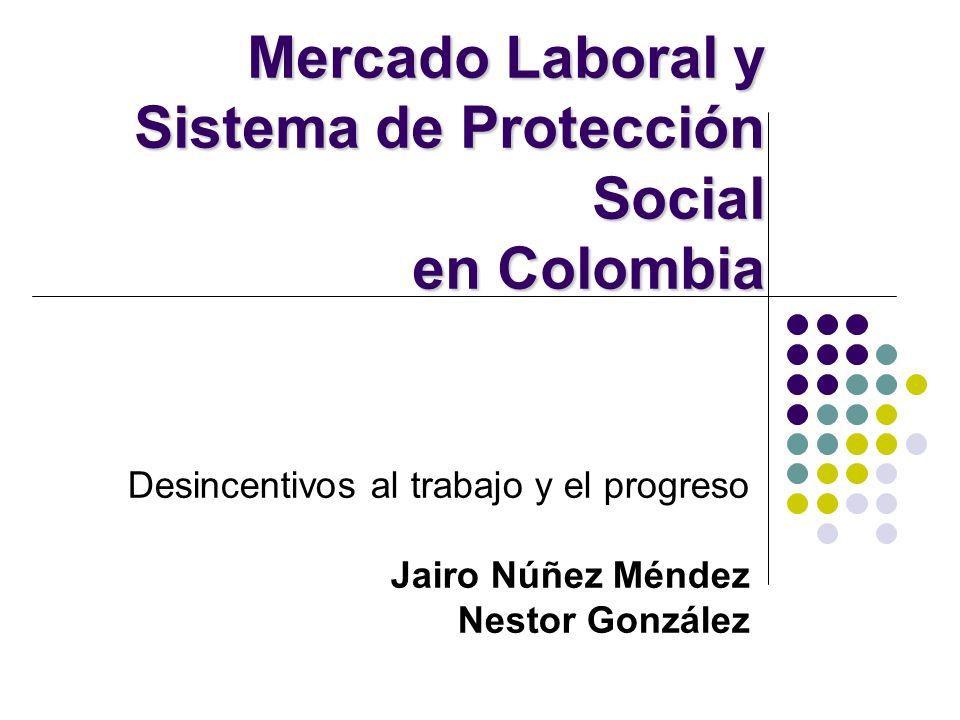 Desincentivos al trabajo y el progreso Jairo Núñez Méndez Nestor González Mercado Laboral y Sistema de Protección Social en Colombia