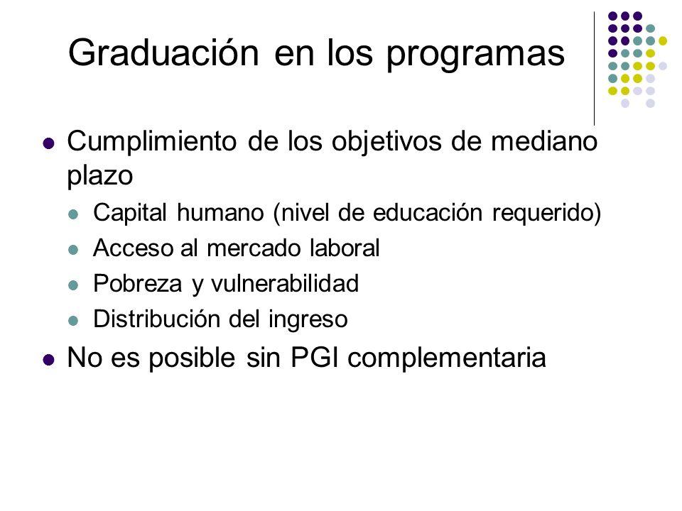 Cumplimiento de los objetivos de mediano plazo Capital humano (nivel de educación requerido) Acceso al mercado laboral Pobreza y vulnerabilidad Distribución del ingreso No es posible sin PGI complementaria Graduación en los programas