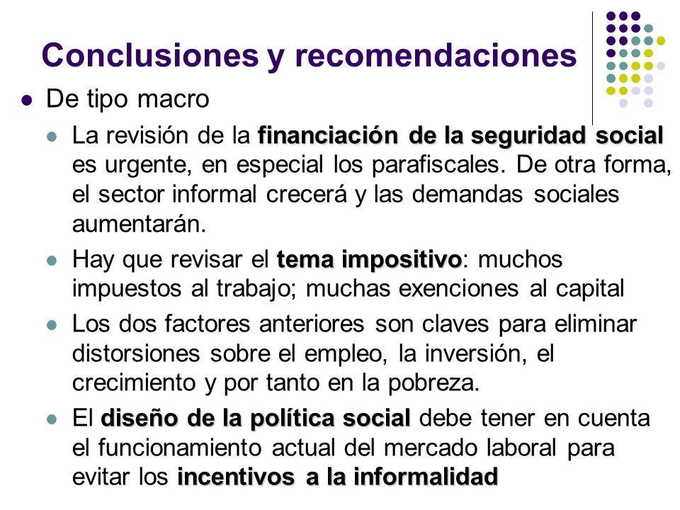 Conclusiones y recomendaciones De tipo macro financiación de la seguridad social La revisión de la financiación de la seguridad social es urgente, en especial los parafiscales.