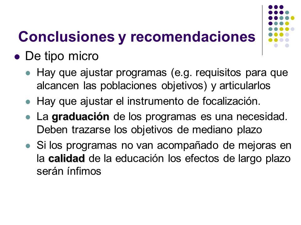 Conclusiones y recomendaciones De tipo micro Hay que ajustar programas (e.g.