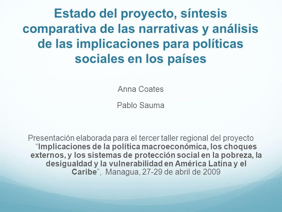 Estado del proyecto, síntesis comparativa de las narrativas y análisis de las implicaciones para políticas sociales en los países Anna Coates Pablo Sa