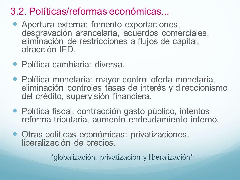 3.2. Políticas/reformas económicas... Apertura externa: fomento exportaciones, desgravación arancelaria, acuerdos comerciales, eliminación de restricc