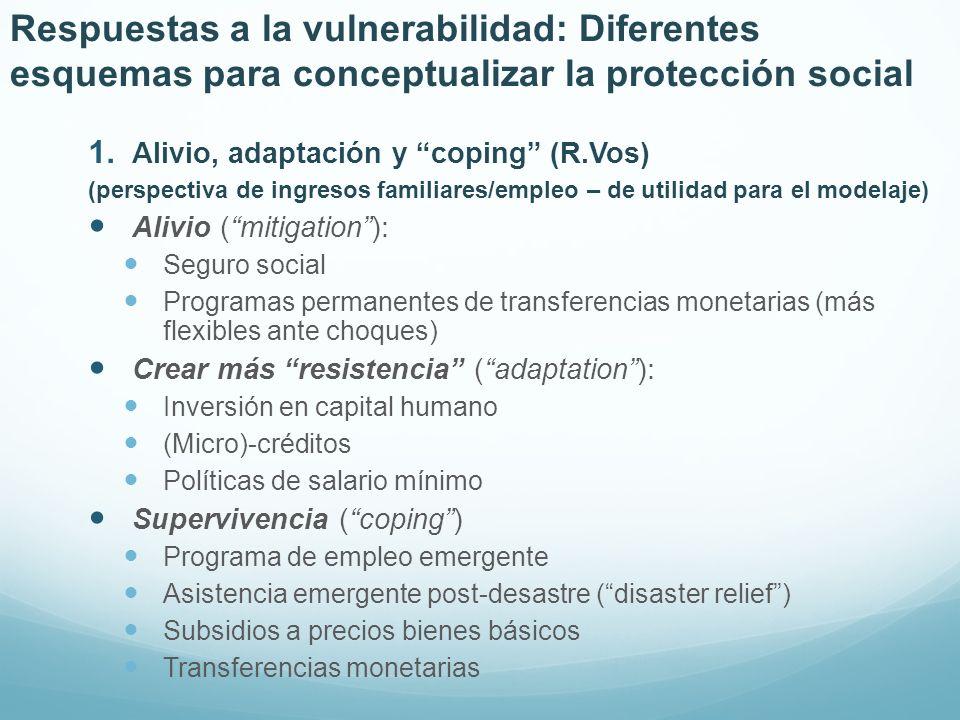 Respuestas a la vulnerabilidad: Diferentes esquemas para conceptualizar la protección social 1. Alivio, adaptación y coping (R.Vos) (perspectiva de in
