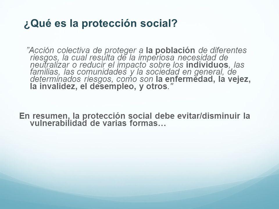 ¿Qué es la protección social? Acción colectiva de proteger a la población de diferentes riesgos, la cual resulta de la imperiosa necesidad de neutrali