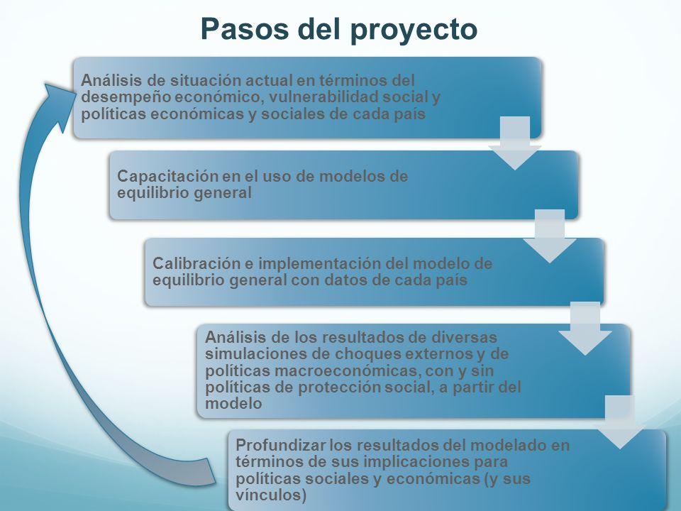 Pasos del proyecto Análisis de situación actual en términos del desempeño económico, vulnerabilidad social y políticas económicas y sociales de cada p