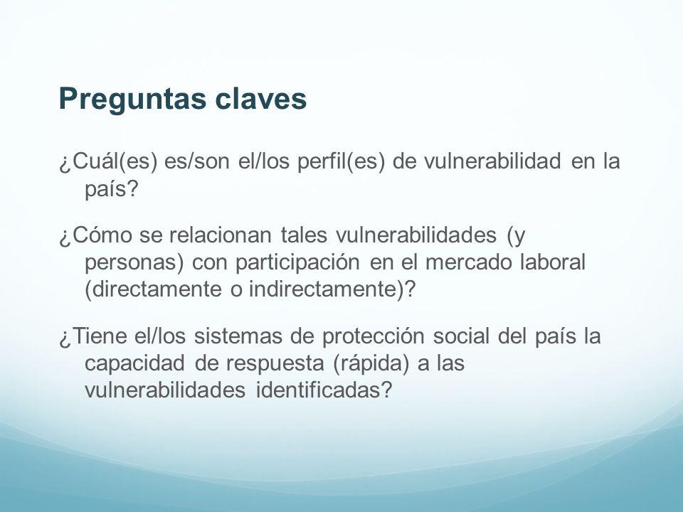 Preguntas claves ¿Cuál(es) es/son el/los perfil(es) de vulnerabilidad en la país? ¿Cómo se relacionan tales vulnerabilidades (y personas) con particip