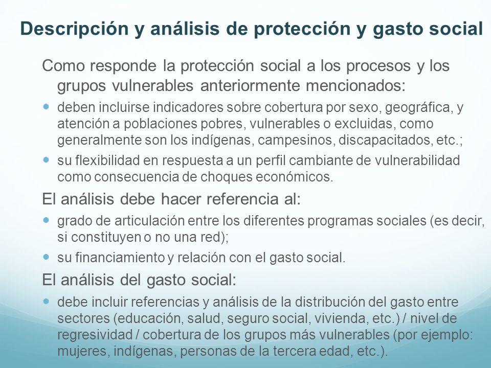 Como responde la protección social a los procesos y los grupos vulnerables anteriormente mencionados: deben incluirse indicadores sobre cobertura por