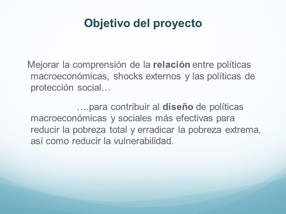 Objetivo del proyecto Mejorar la comprensión de la relación entre políticas macroeconómicas, shocks externos y las políticas de protección social… ….p