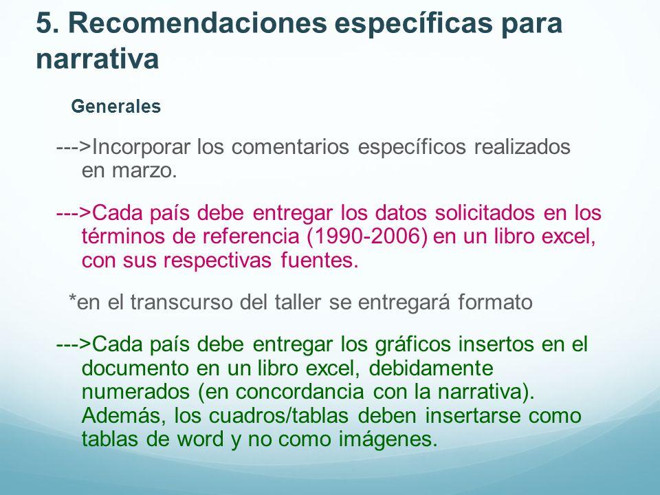 5. Recomendaciones específicas para narrativa Generales --->Incorporar los comentarios específicos realizados en marzo. --->Cada país debe entregar lo