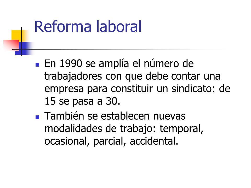 Reforma laboral En 1990 se amplía el número de trabajadores con que debe contar una empresa para constituir un sindicato: de 15 se pasa a 30. También