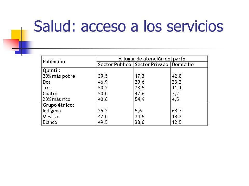 Salud: acceso a los servicios Población % lugar de atención del parto Sector PúblicoSector PrivadoDomicilio Quintil: 20% más pobre Dos Tres Cuatro 20%