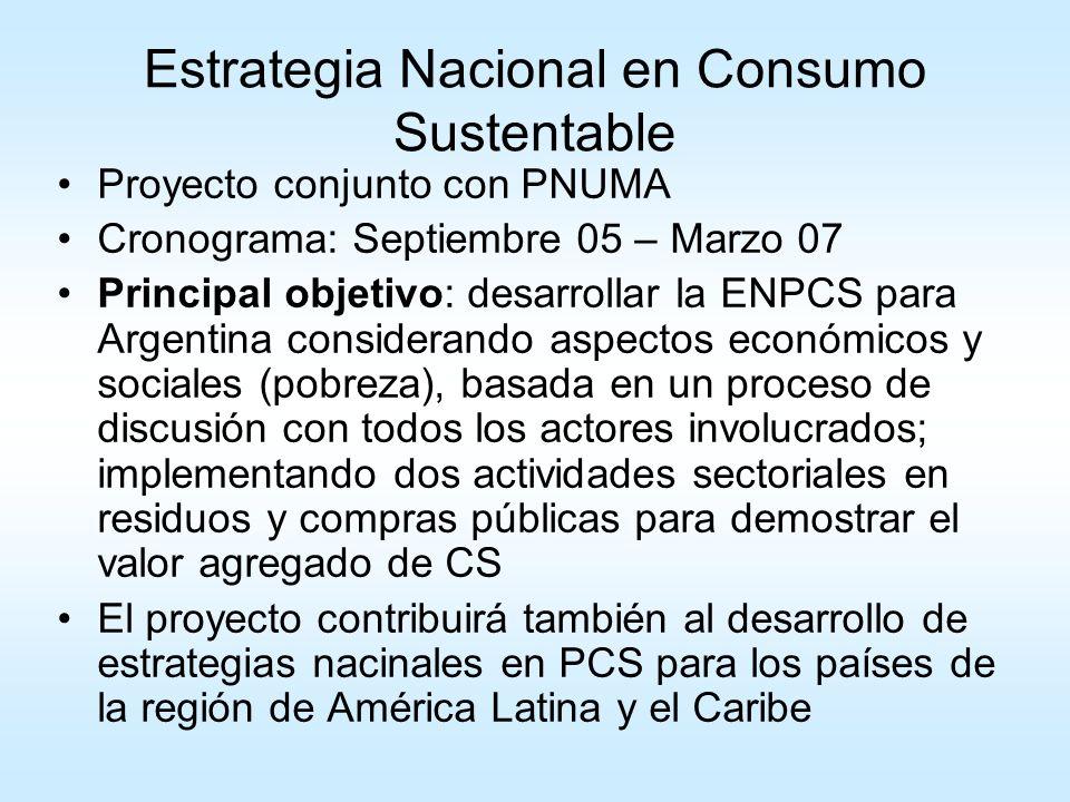 A – Estrategia Nacional en Consumo Sustentable B – Dos actividades sectoriales como parte de la ENCS: 1.Estrategia Integrada de Gestión de Residuos 2.Compras Públicas Sustentables El proyecto se basará en las contribuciones del Consejo Asesor en PCS.