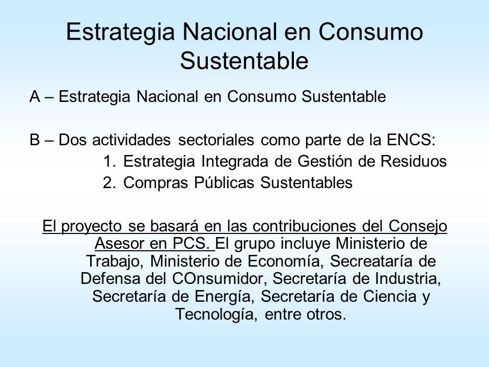 A - Estrategia Nacional en Consumo Sustentable 1.Estudios de base: a.Qué está haciendo el mundo.