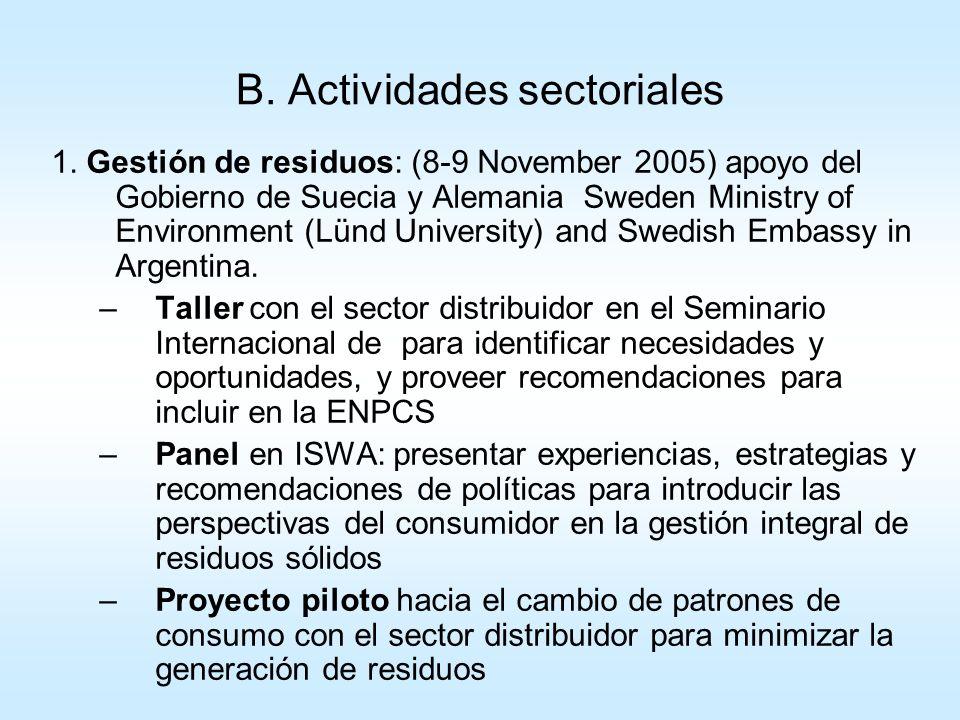 B. Actividades sectoriales 1. Gestión de residuos: (8-9 November 2005) apoyo del Gobierno de Suecia y Alemania Sweden Ministry of Environment (Lünd Un