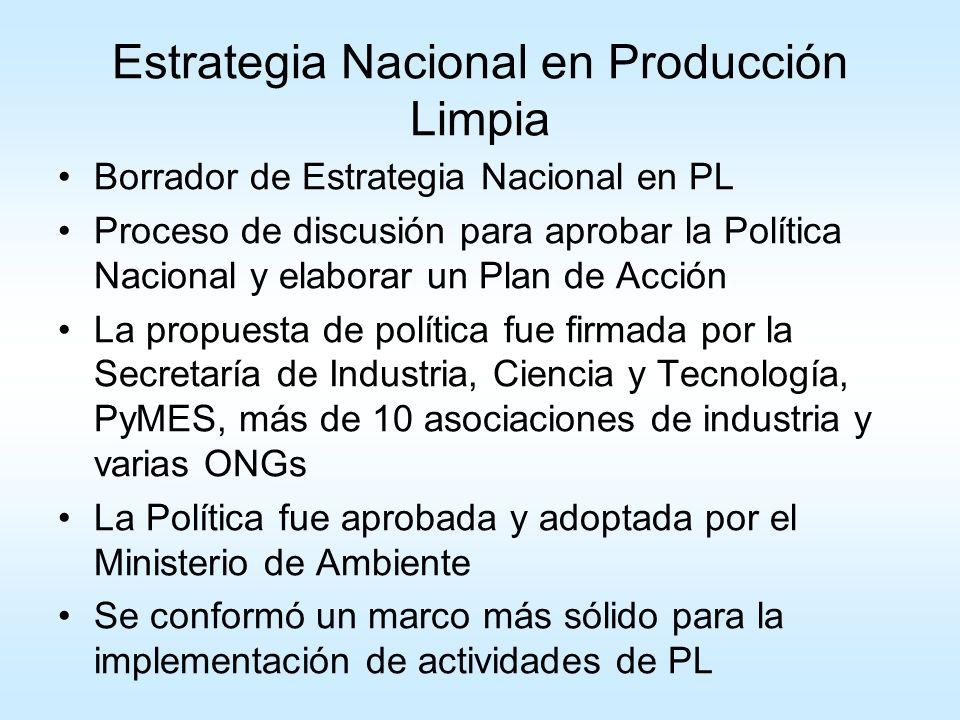 Principales resultados: 1- Se creó un área especifica para el tema en el Ministerio de Ambiente 2- El grupo de Expertos fue formalizado como Consejo Asesor PCS: formado 60% industria; 20% sector público; 15% ONG y 5% otras 3- Integración de políticas con Industria, Economía, Ciencia y TEcnología, entre otros 4- PNPL: nueva herramienta para los gobiernos locales 5- Industria, Sector Público, Provincias, ONGs, se sienten un poquito dueños de la PNPL.