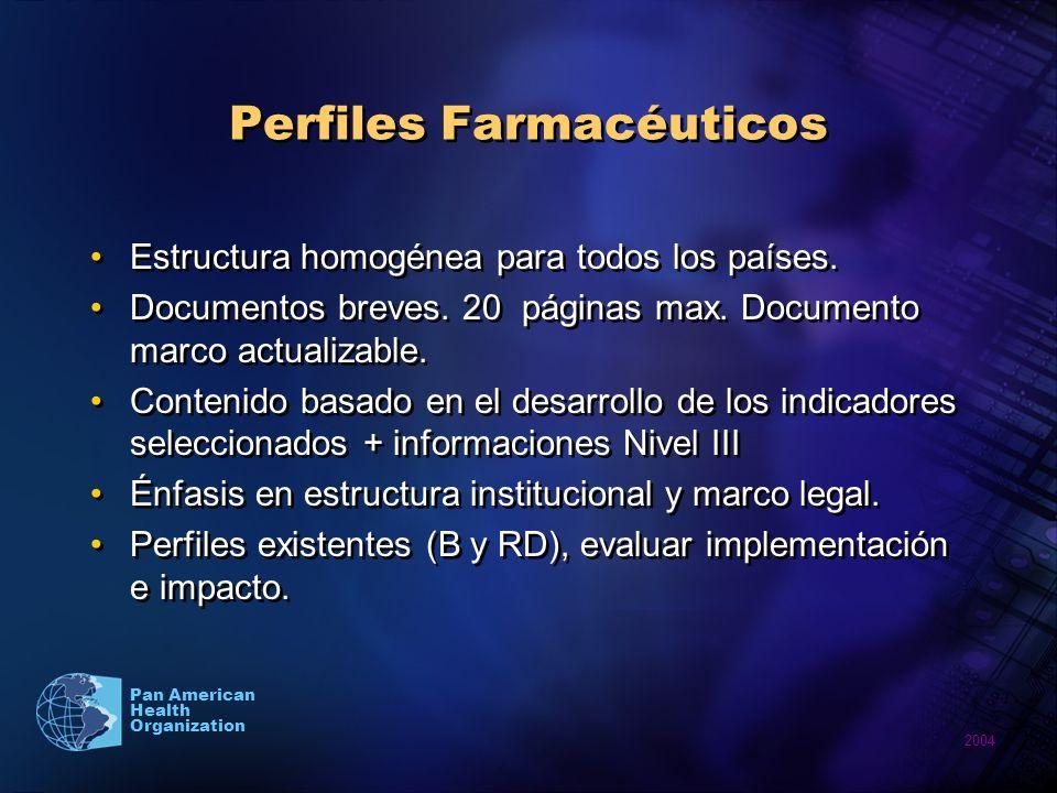 2004 Pan American Health Organization Perfiles Farmacéuticos Estructura homogénea para todos los países.