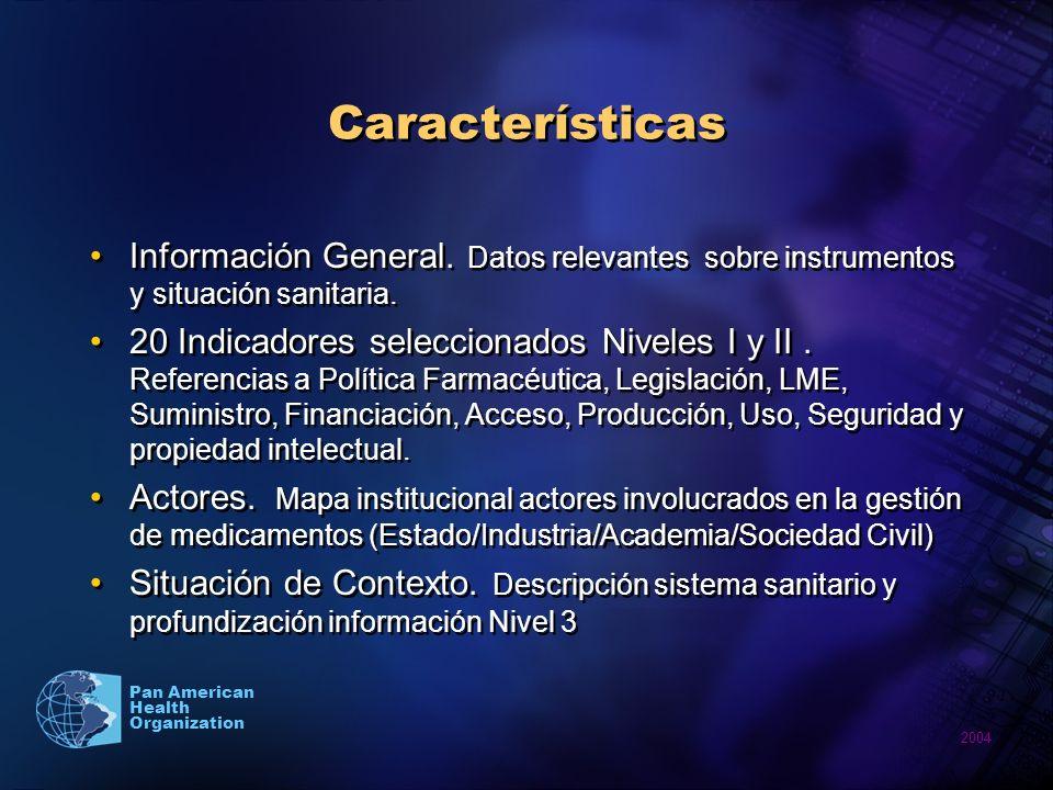 2004 Pan American Health Organization Características Información General.