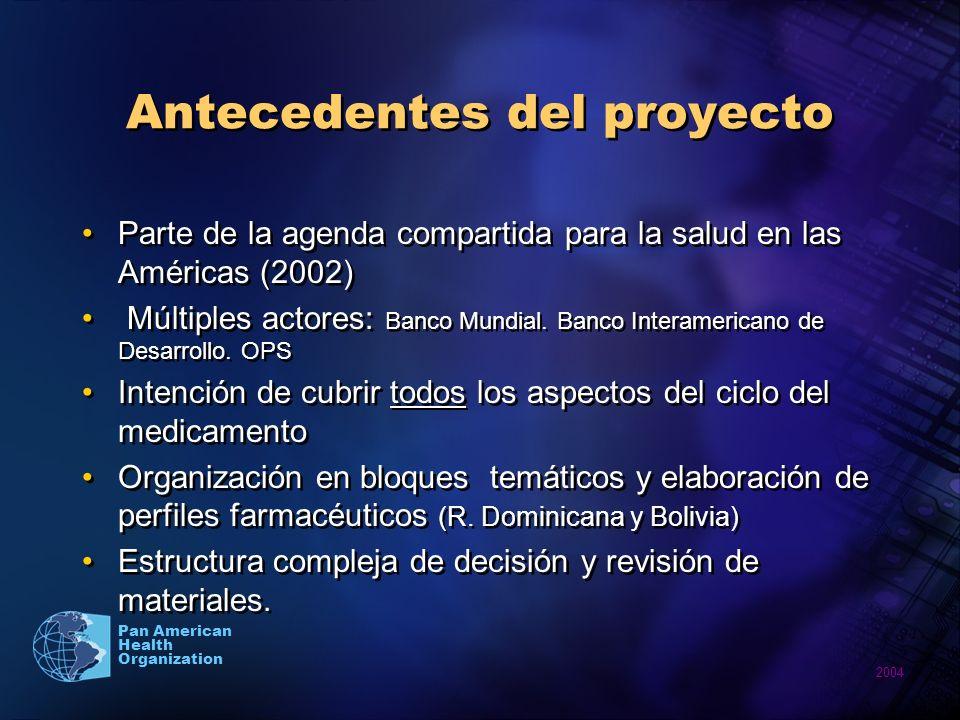 2004 Pan American Health Organization Antecedentes del proyecto Parte de la agenda compartida para la salud en las Américas (2002) Múltiples actores: Banco Mundial.