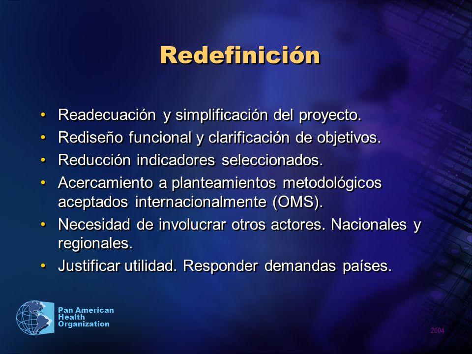 2004 Pan American Health Organization Redefinición Readecuación y simplificación del proyecto.