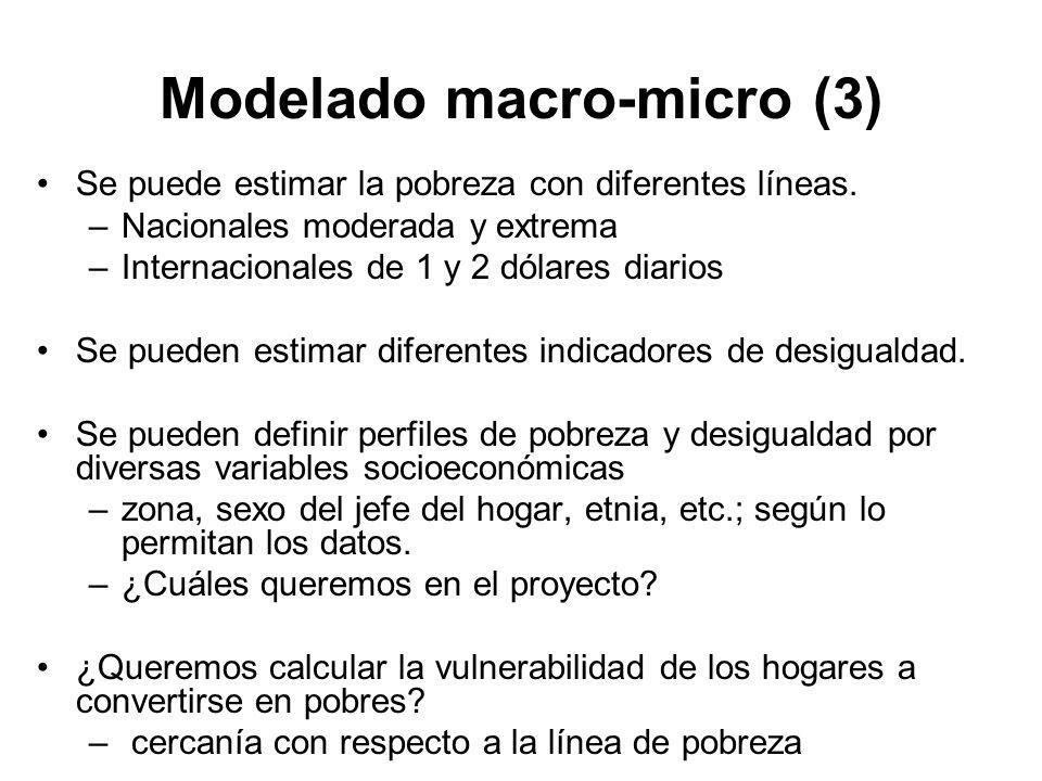 Modelado macro-micro (4) Ventajas: Permite analizar el impacto de un rango completo de parámetros en forma aislada o secuencial.