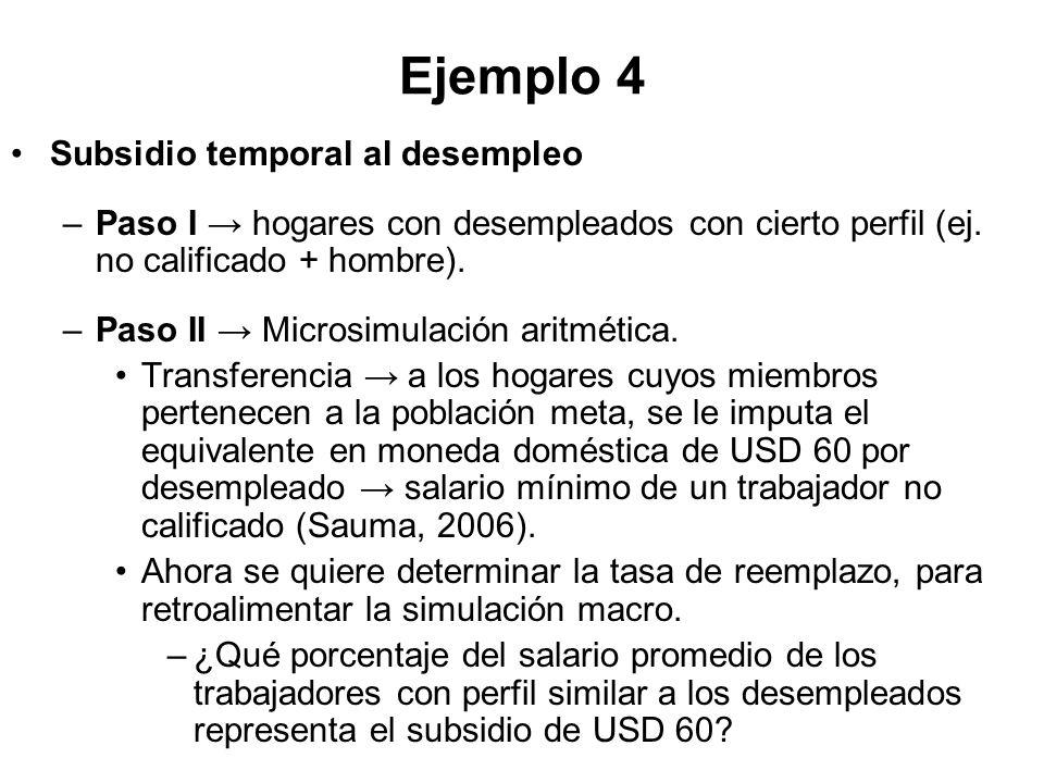 Ejemplo 4 Subsidio temporal al desempleo –Paso I hogares con desempleados con cierto perfil (ej. no calificado + hombre). –Paso II Microsimulación ari