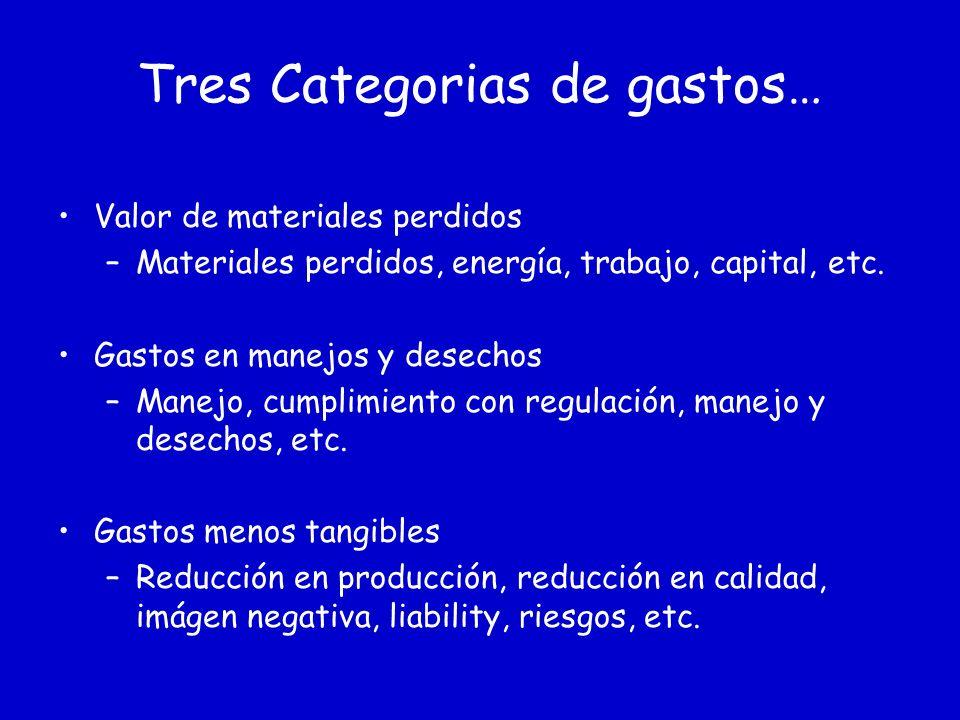 Tres Categorias de gastos… Valor de materiales perdidos –Materiales perdidos, energía, trabajo, capital, etc.