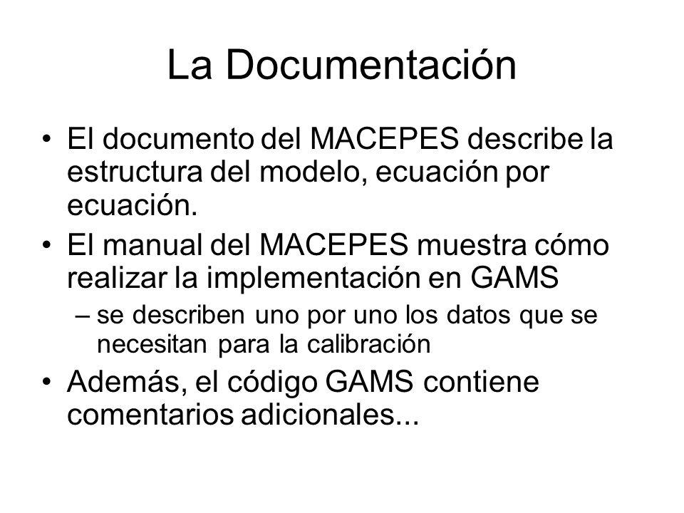 La Documentación El documento del MACEPES describe la estructura del modelo, ecuación por ecuación.