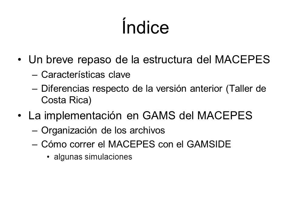 Índice Un breve repaso de la estructura del MACEPES –Características clave –Diferencias respecto de la versión anterior (Taller de Costa Rica) La implementación en GAMS del MACEPES –Organización de los archivos –Cómo correr el MACEPES con el GAMSIDE algunas simulaciones