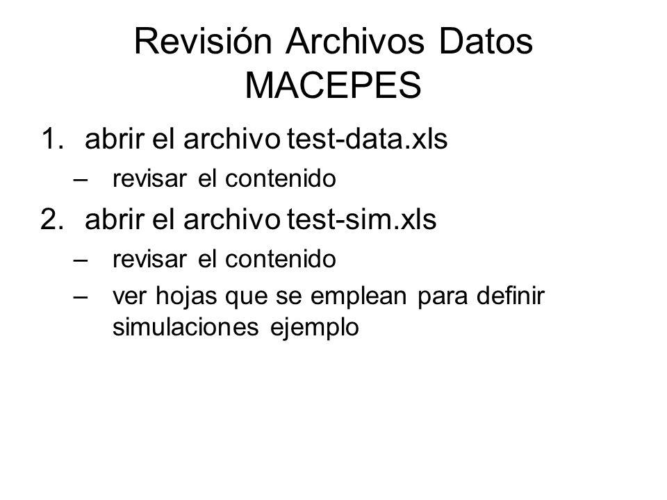 Revisión Archivos Datos MACEPES 1.abrir el archivo test-data.xls –revisar el contenido 2.abrir el archivo test-sim.xls –revisar el contenido –ver hojas que se emplean para definir simulaciones ejemplo