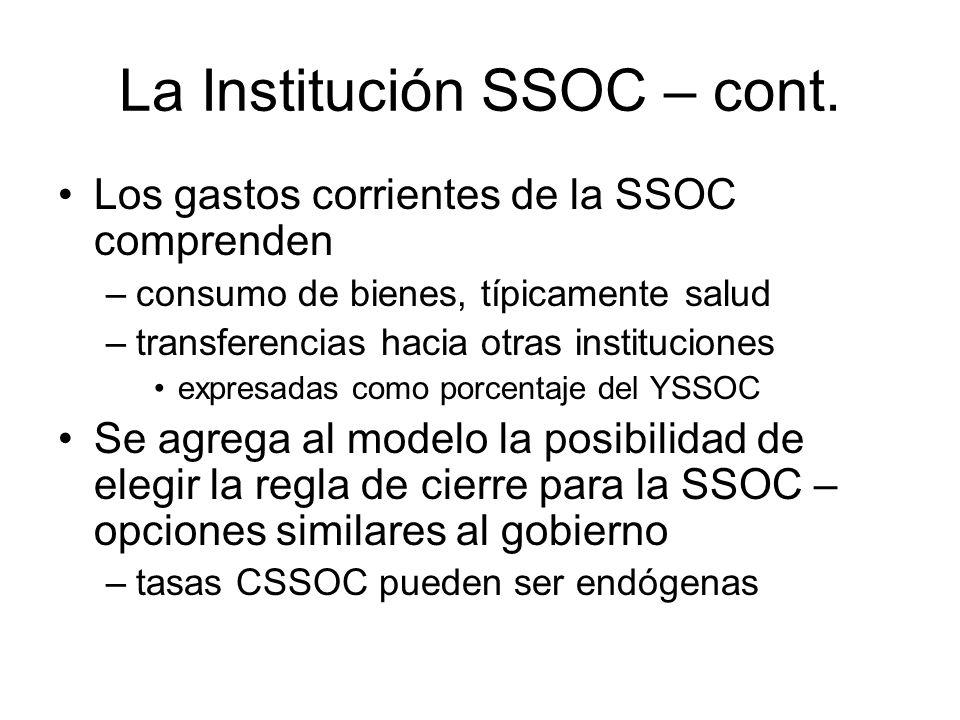 La Institución SSOC – cont.