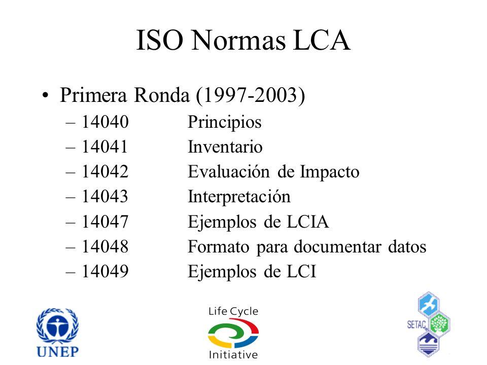 ISO Normas LCA Primera Ronda (1997-2003) –14040 Principios –14041Inventario –14042Evaluación de Impacto –14043Interpretación –14047Ejemplos de LCIA –1