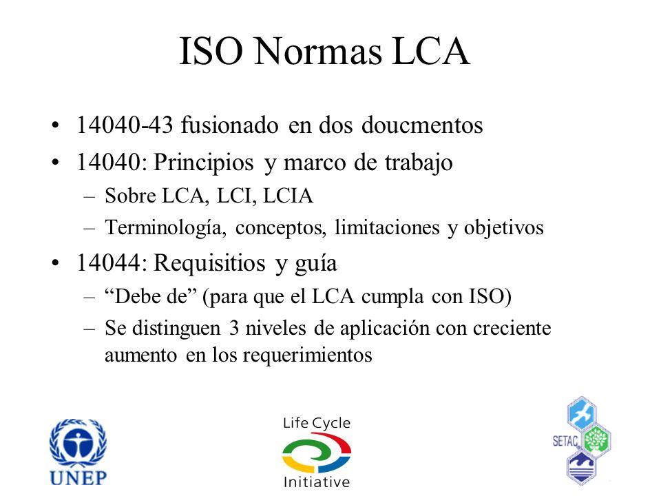 ISO Normas LCA 14040-43 fusionado en dos doucmentos 14040: Principios y marco de trabajo –Sobre LCA, LCI, LCIA –Terminología, conceptos, limitaciones