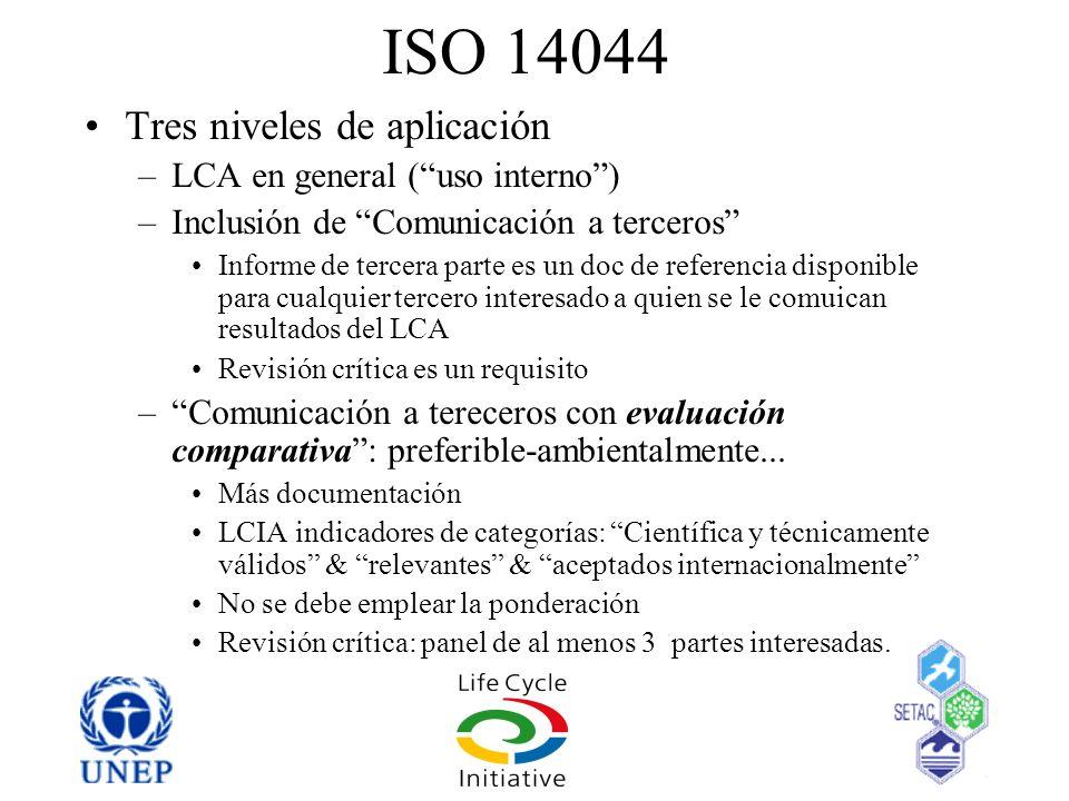 ISO 14044 Tres niveles de aplicación –LCA en general (uso interno) –Inclusión de Comunicación a terceros Informe de tercera parte es un doc de referen