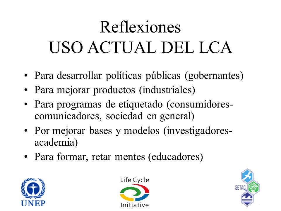 Reflexiones USO ACTUAL DEL LCA Para desarrollar políticas públicas (gobernantes) Para mejorar productos (industriales) Para programas de etiquetado (c