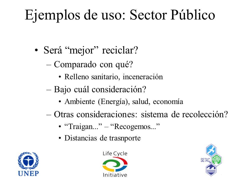 Ejemplos de uso: Sector Público Será mejor reciclar? –Comparado con qué? Relleno sanitario, inceneración –Bajo cuál consideración? Ambiente (Energía),