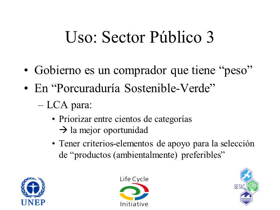 Uso: Sector Público 3 Gobierno es un comprador que tiene peso En Porcuraduría Sostenible-Verde –LCA para: Priorizar entre cientos de categorías la mej